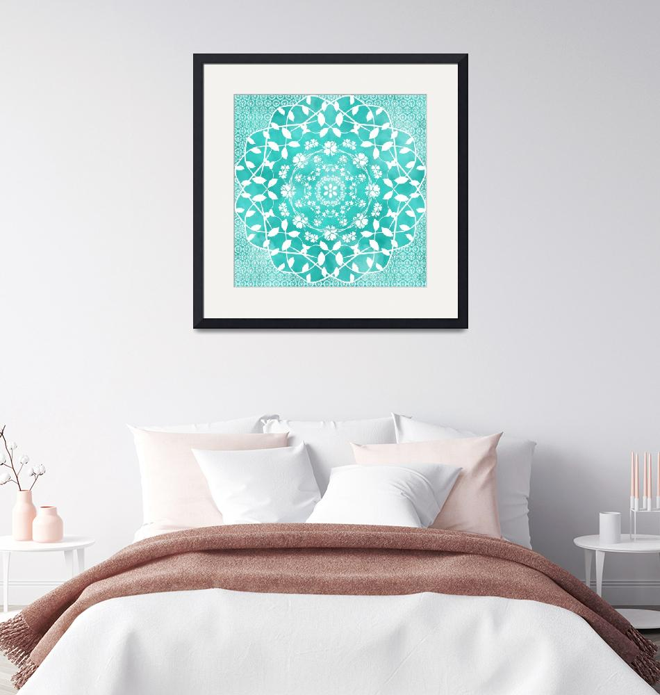 """Hearts & Flowers Teal Green Blue Floral Mandala""  (2019) by ImageMonkey"