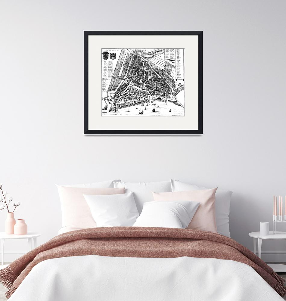 """""""Vintage Map of Rotterdam Netherlands (1649) 2 BW""""  by Alleycatshirts"""