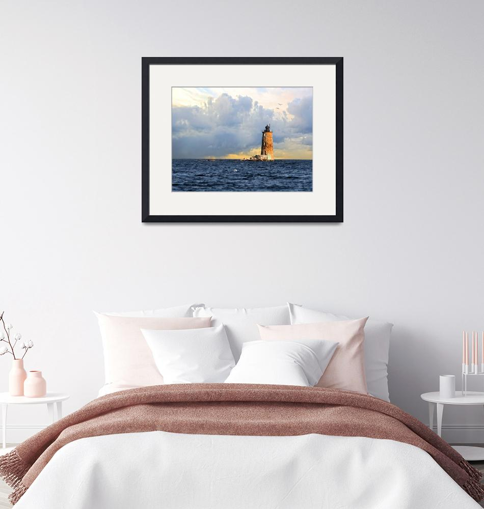 """Whaleback Lighthouse Maine Harbor""  (2007) by digitalvisions"