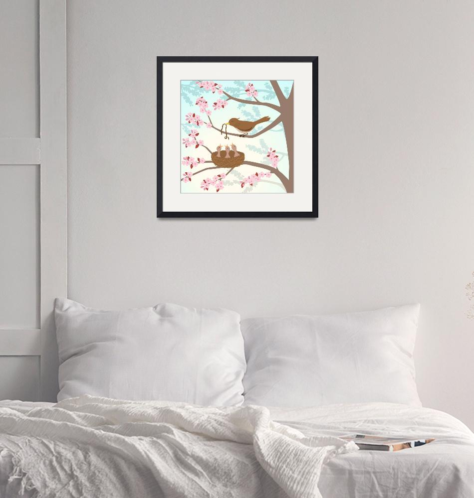 """Bird family in a cherry tree""  (2011) by eligri"