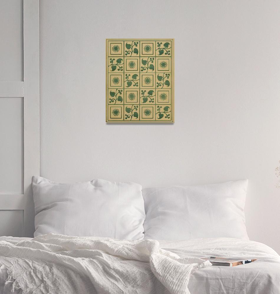 """Vintage Green Vines, Leaves and Star Blocks Design""  by Alleycatshirts"