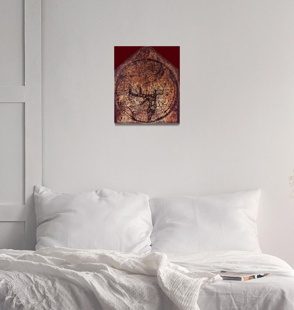 """""""Hereford Mappa Mundi 1300 Darker Red Corners""""  (2014) by TheNorthernTerritory"""