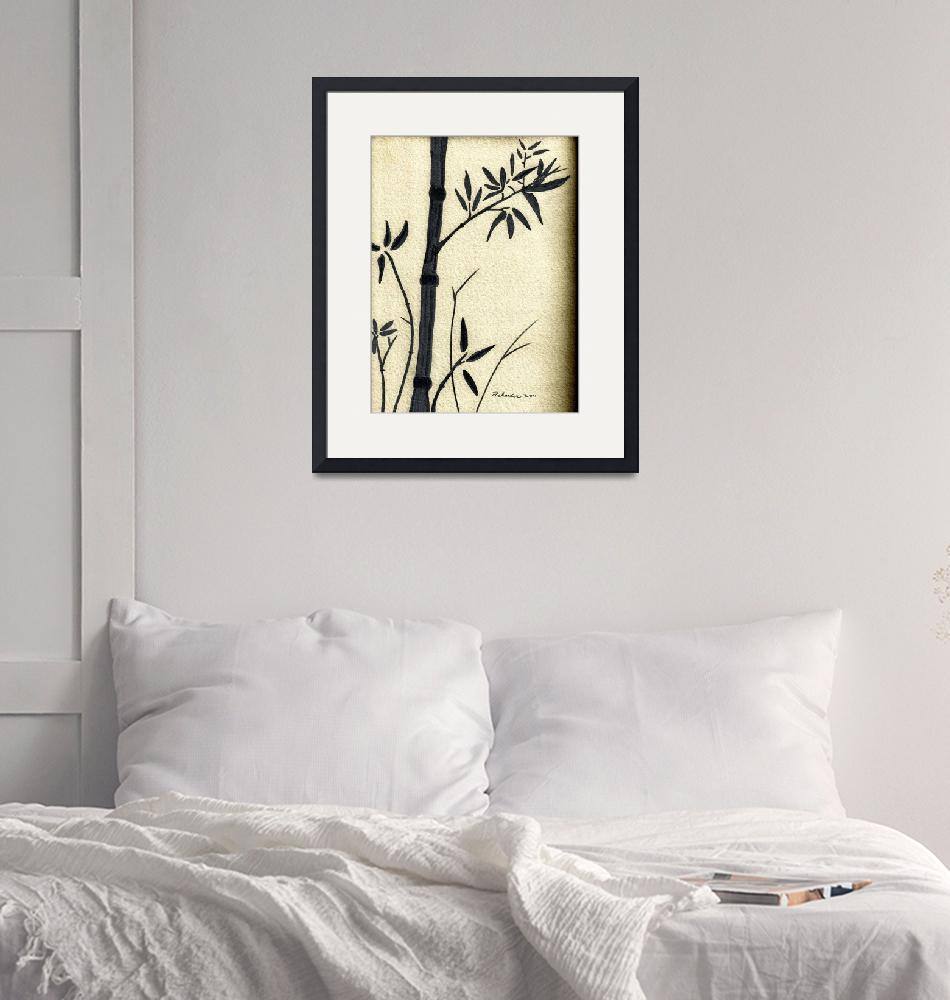 """Zen Sumi Antique Bamboo 1a Black Ink on Watercolor""  (2011) by Ricardos"