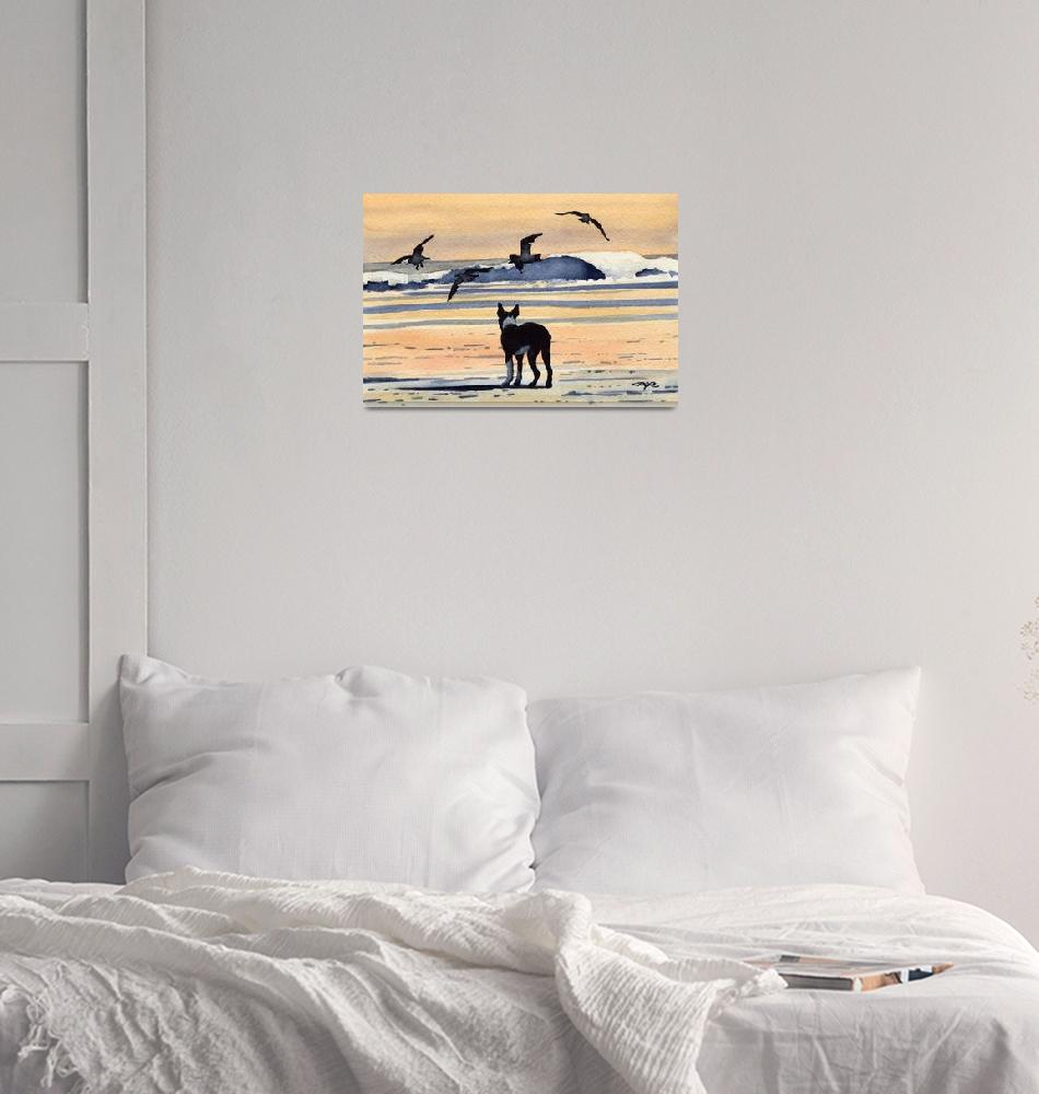 """""""Boston Terrier at the Beach/Sunset""""  (2015) by k9artgallery"""