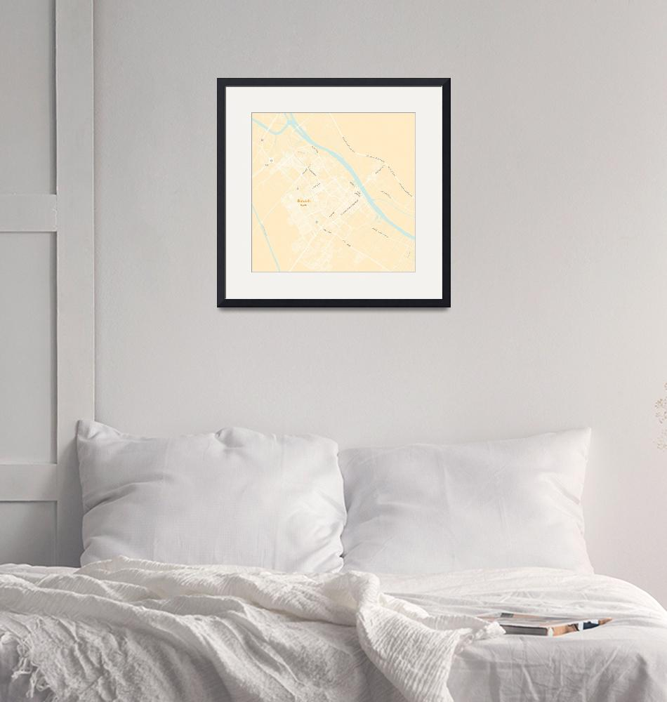 """Minimalist Modern Map of Basrah, Iraq 4""  by motionage"