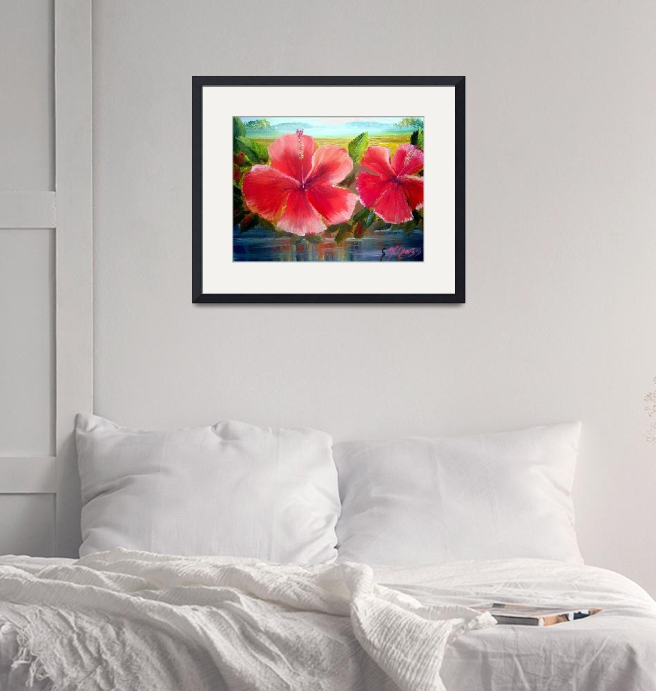 """""""Hibiscus Flower Oil Painting""""  (2009) by mazz"""