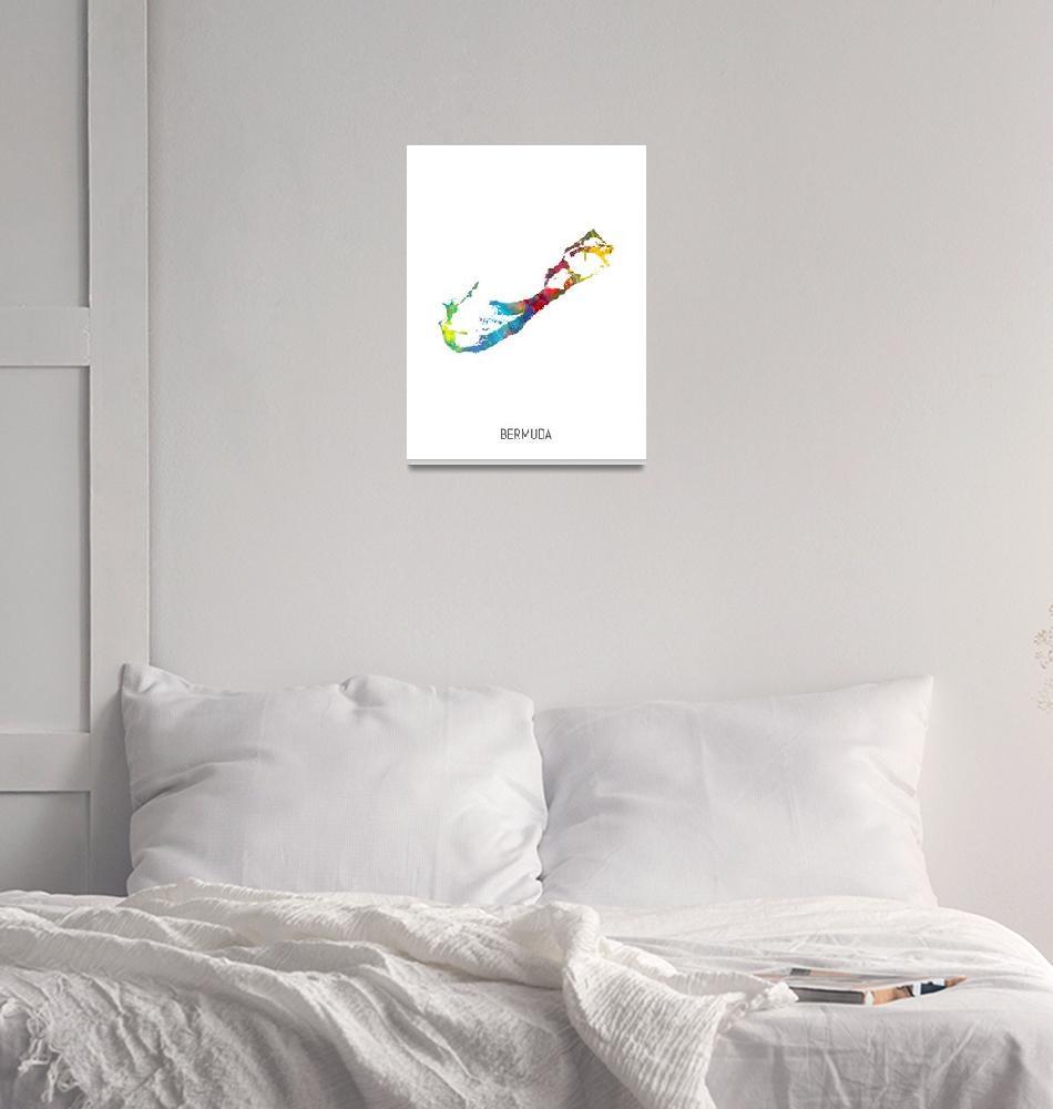 """Bermuda Watercolor Map""  (2019) by ModernArtPrints"