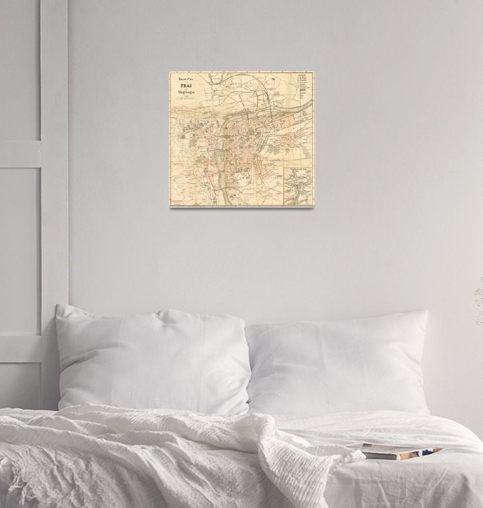 """Vintage Map of Prague (1882)""  by Alleycatshirts"