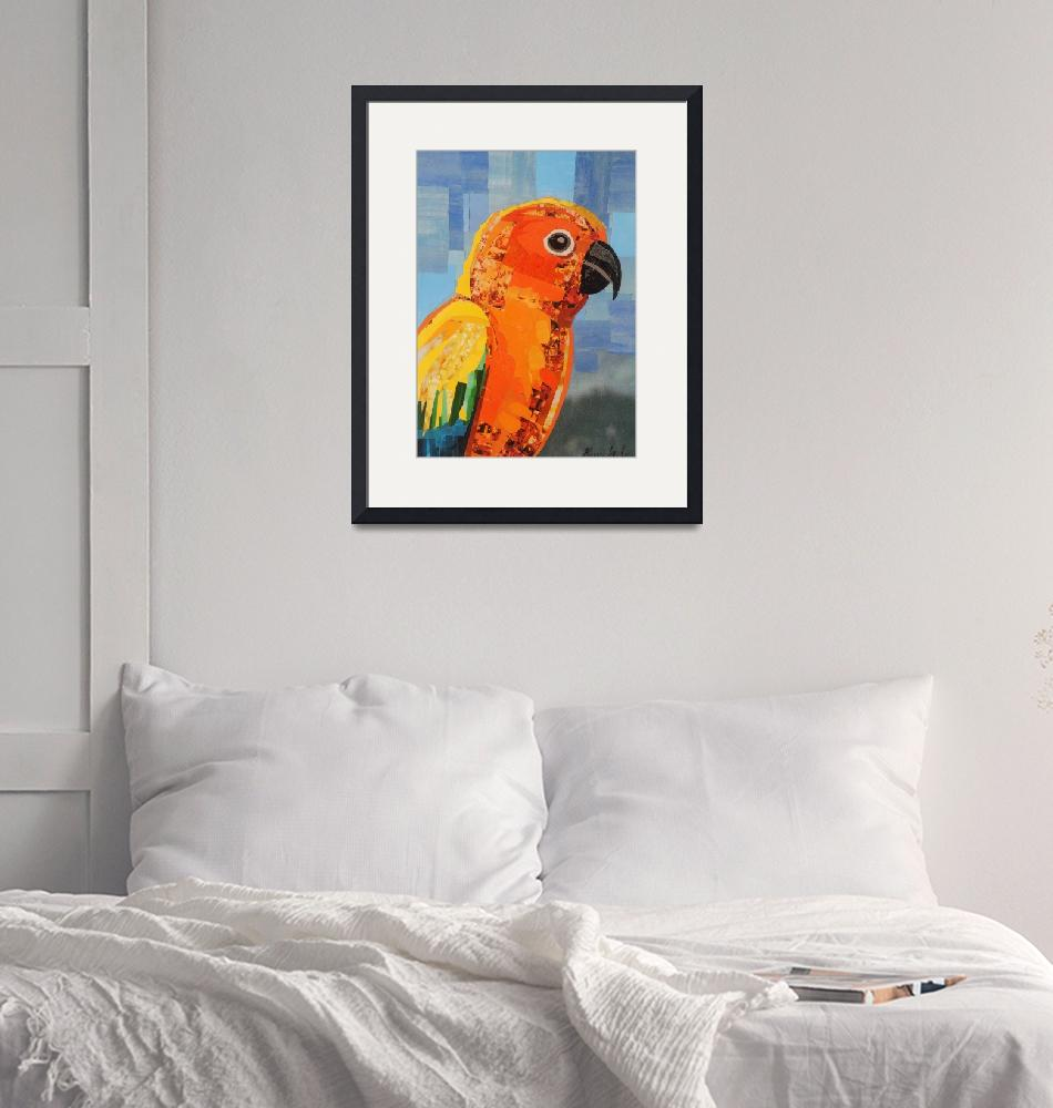 """Orange Conure""  (2021) by megancoyle"