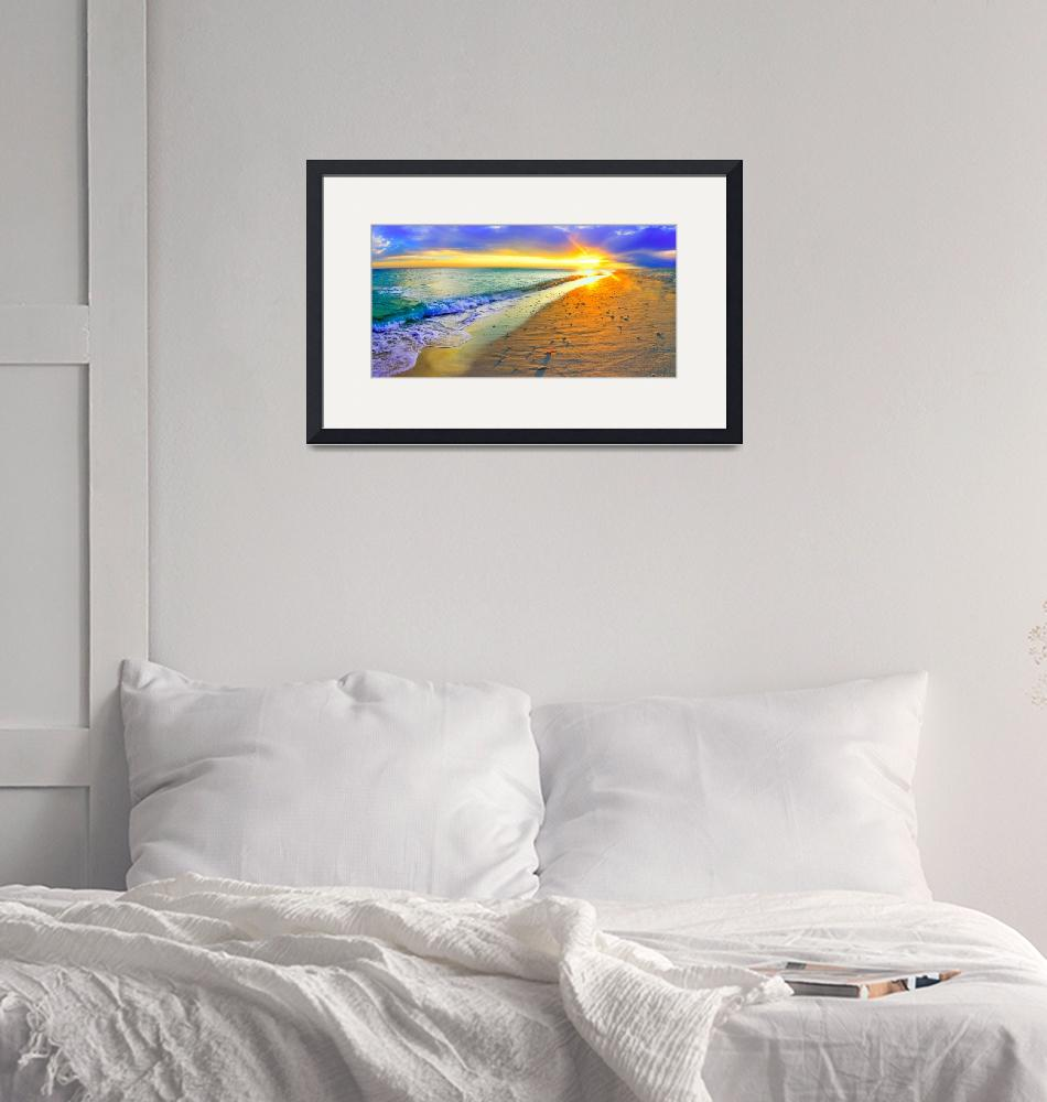 """Panoramic Sunset Beach Shells Art Print""  (2013) by eszra"