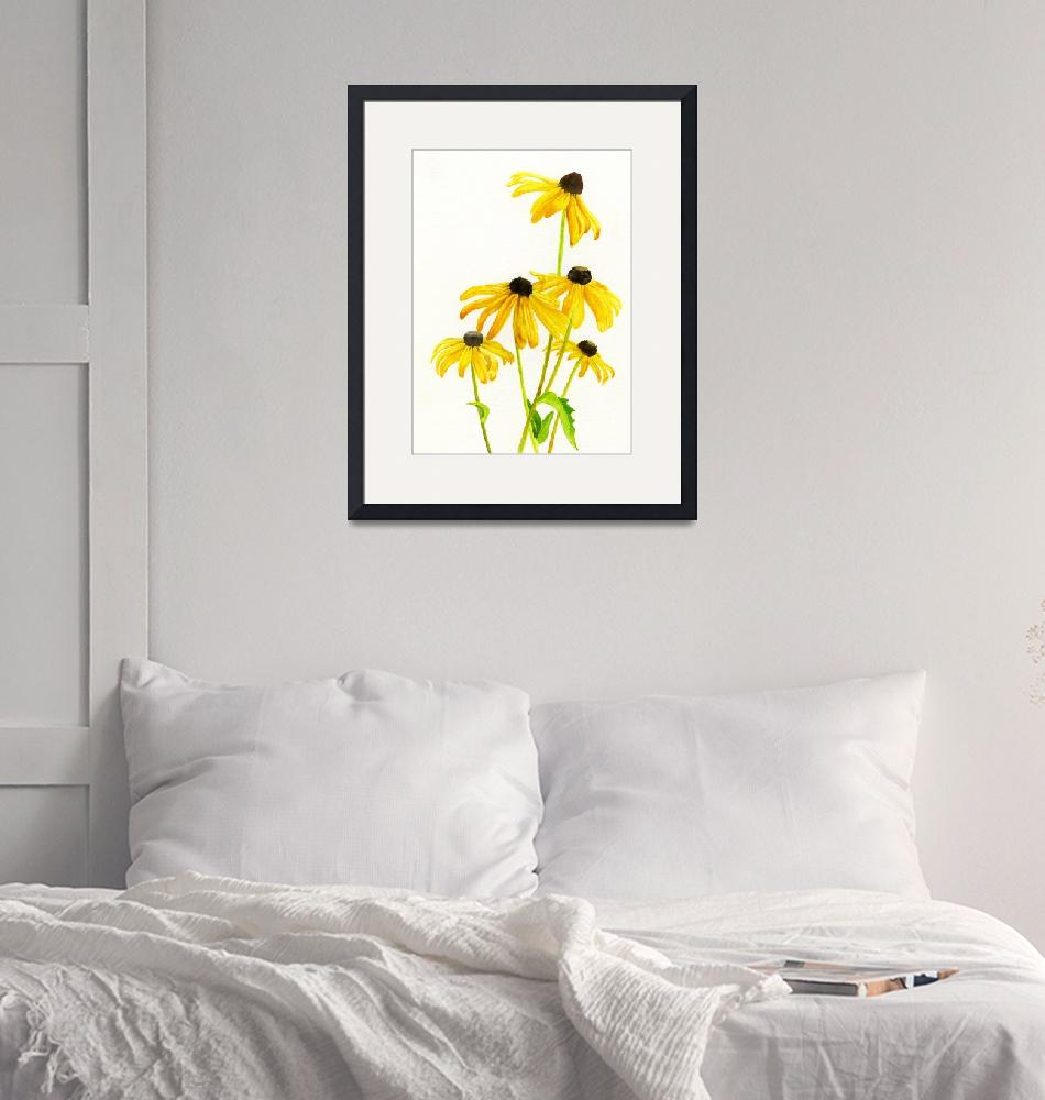 """""""yellow black eyed susans clnd jan 2016-1""""  by Pacific-NW-Watercolors"""