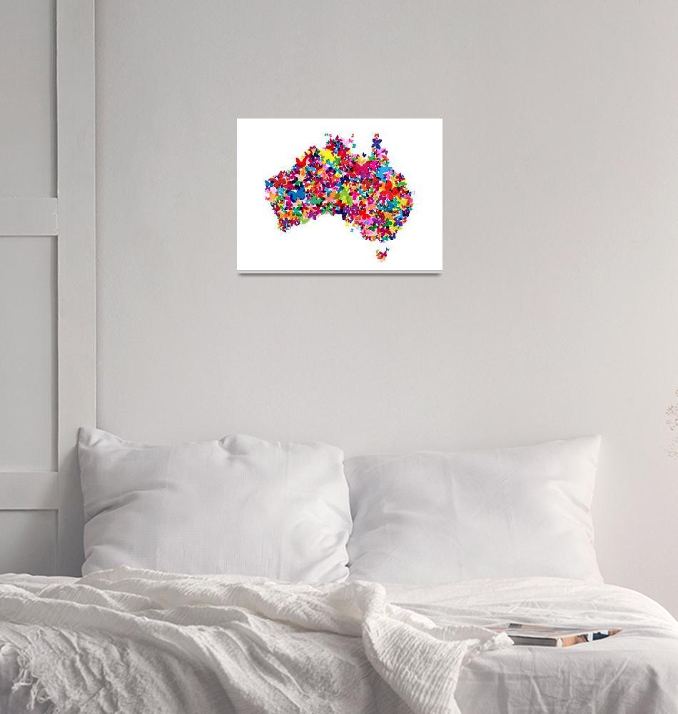 """""""Australia Butterfly Map""""  by ModernArtPrints"""