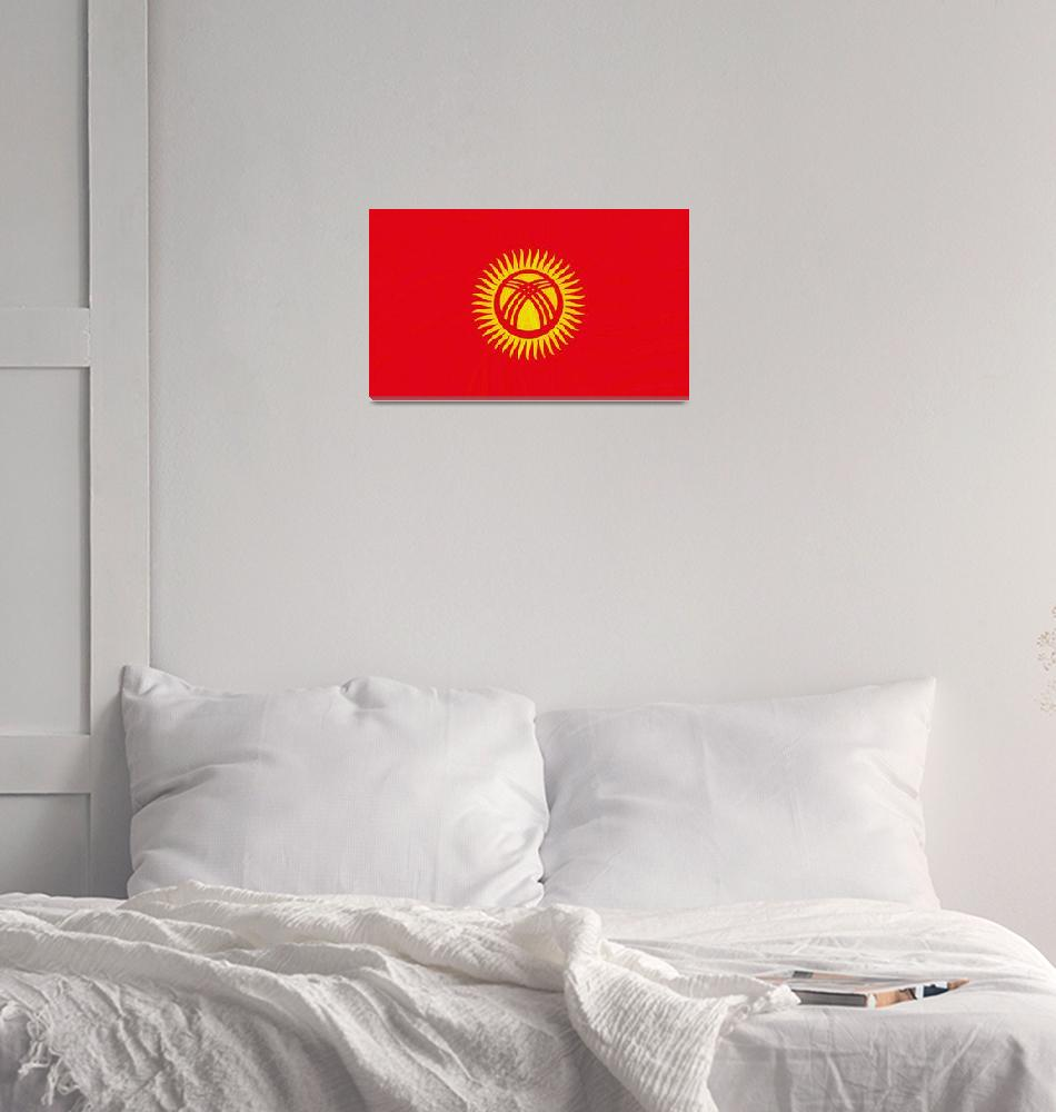 """""""Flag of Kyrgyzstan ,  County Flag Painting ca 2020""""  by motionage"""
