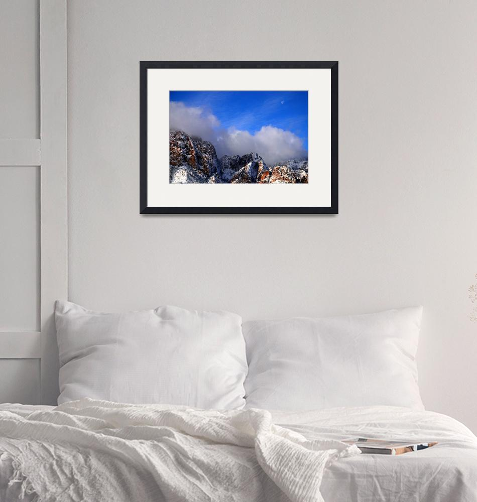 """""""Snow and Moon, Red Rock Canyon""""  (2008) by PadgettGallery"""