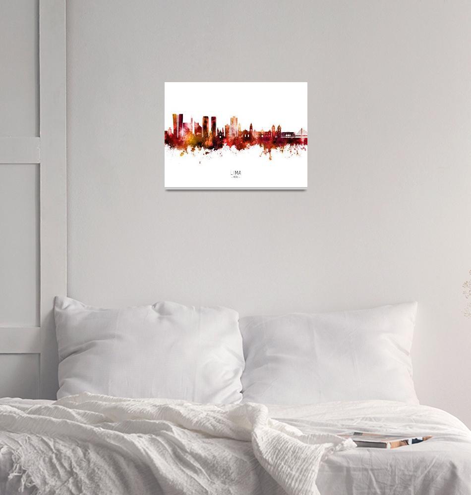 """Lima Peru Skyline""  (2021) by ModernArtPrints"