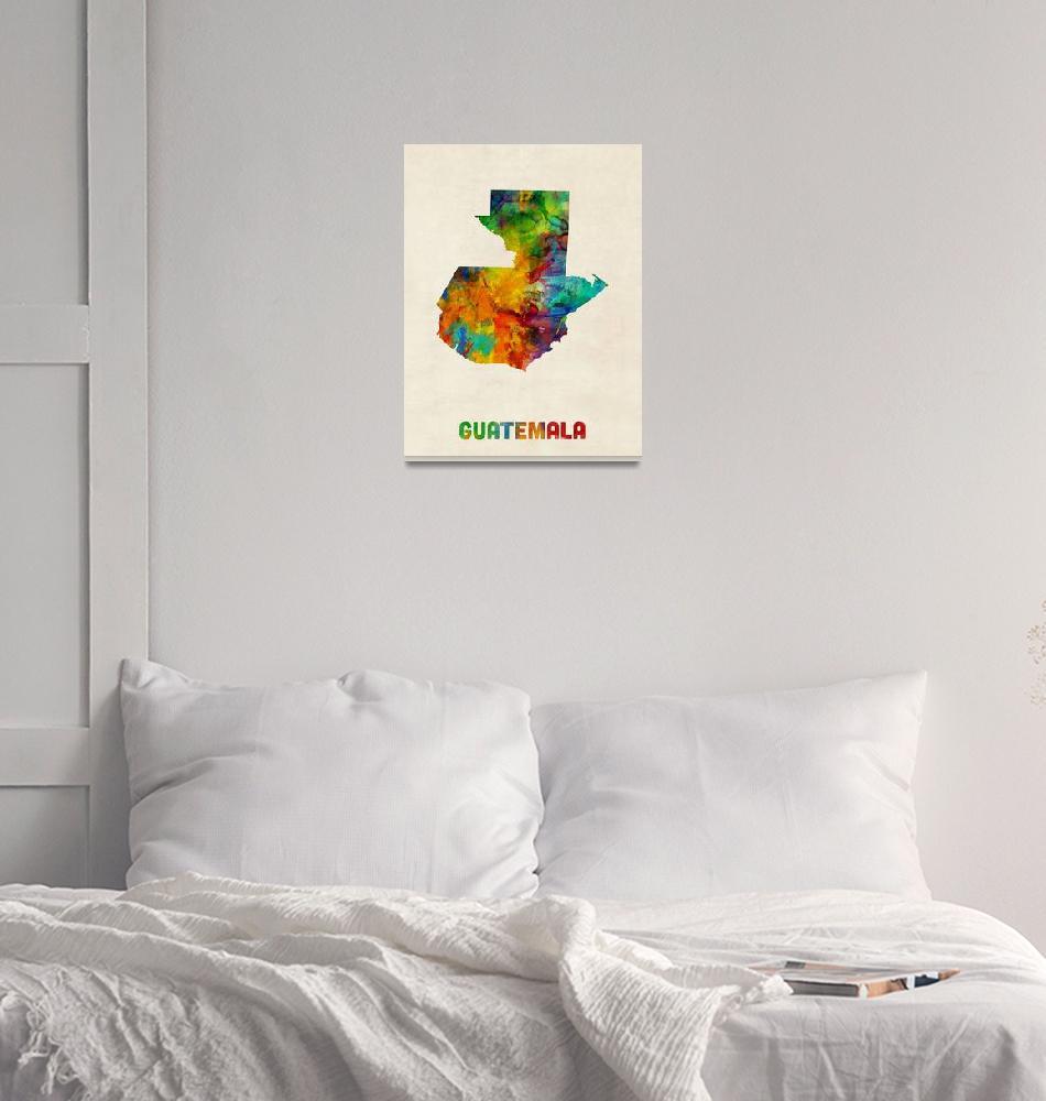 """Guatemala Watercolor Map""  (2014) by ModernArtPrints"