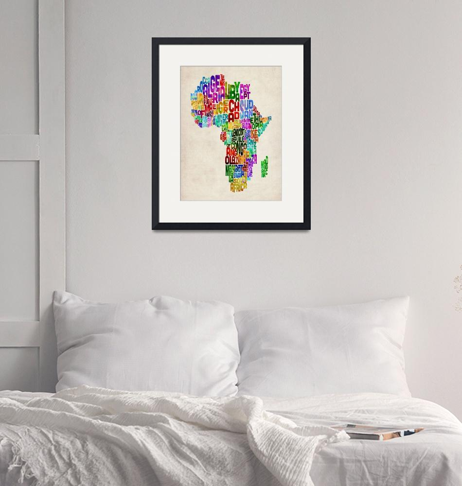 """""""Typography Map of Africa""""  (2012) by ModernArtPrints"""