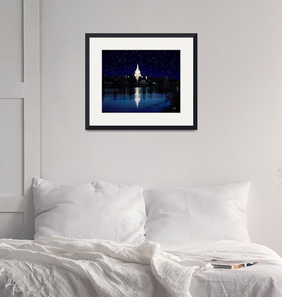 """20x24 Starry Night Idaho Falls Temple""  by lightvoyages"