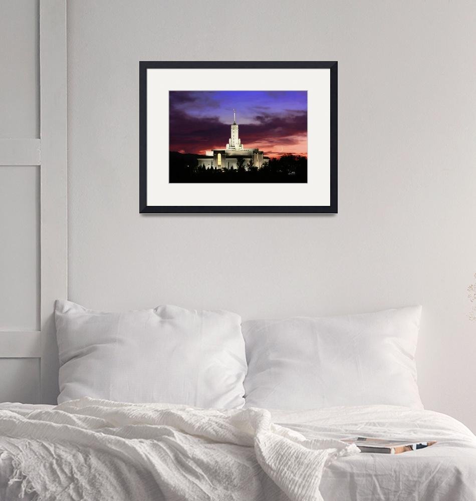 """20x30 Crescent Moon Sunset Mt Timpanogos Temple""  (2008) by lightvoyages"