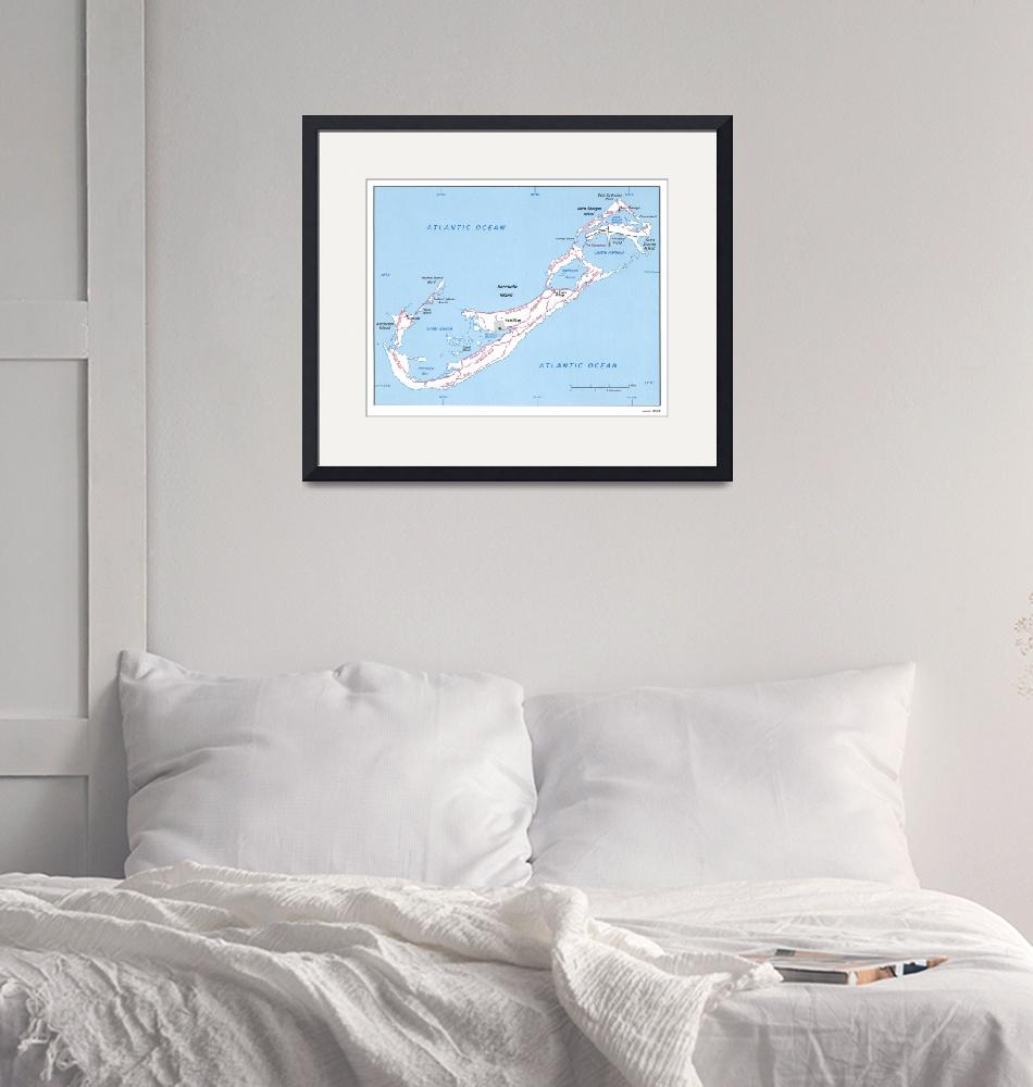"""Vintage Map of Bermuda (1976)""  by Alleycatshirts"