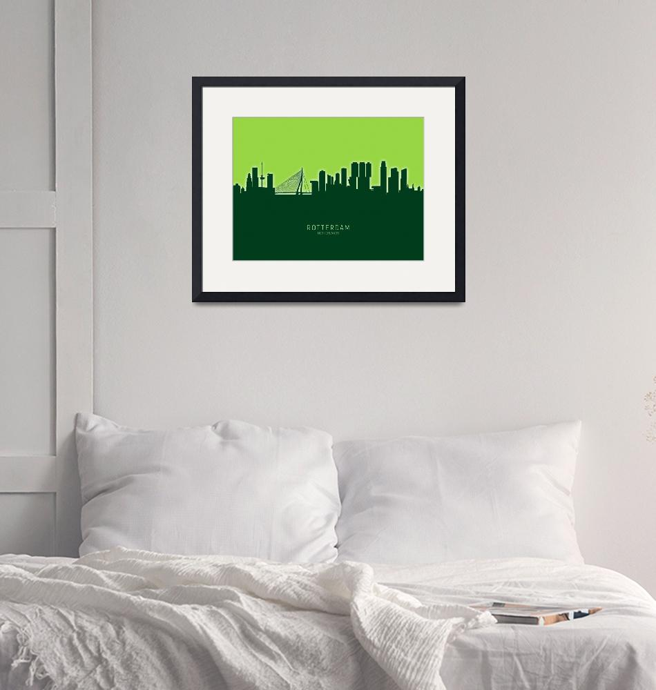 """Rotterdam The Netherlands Skyline""  (2020) by ModernArtPrints"