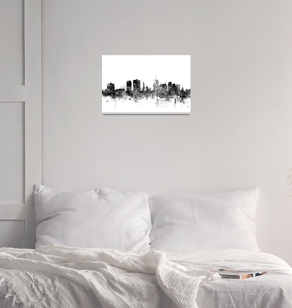 """""""Christchurch New Zealand Skyline""""  (2015) by ModernArtPrints"""
