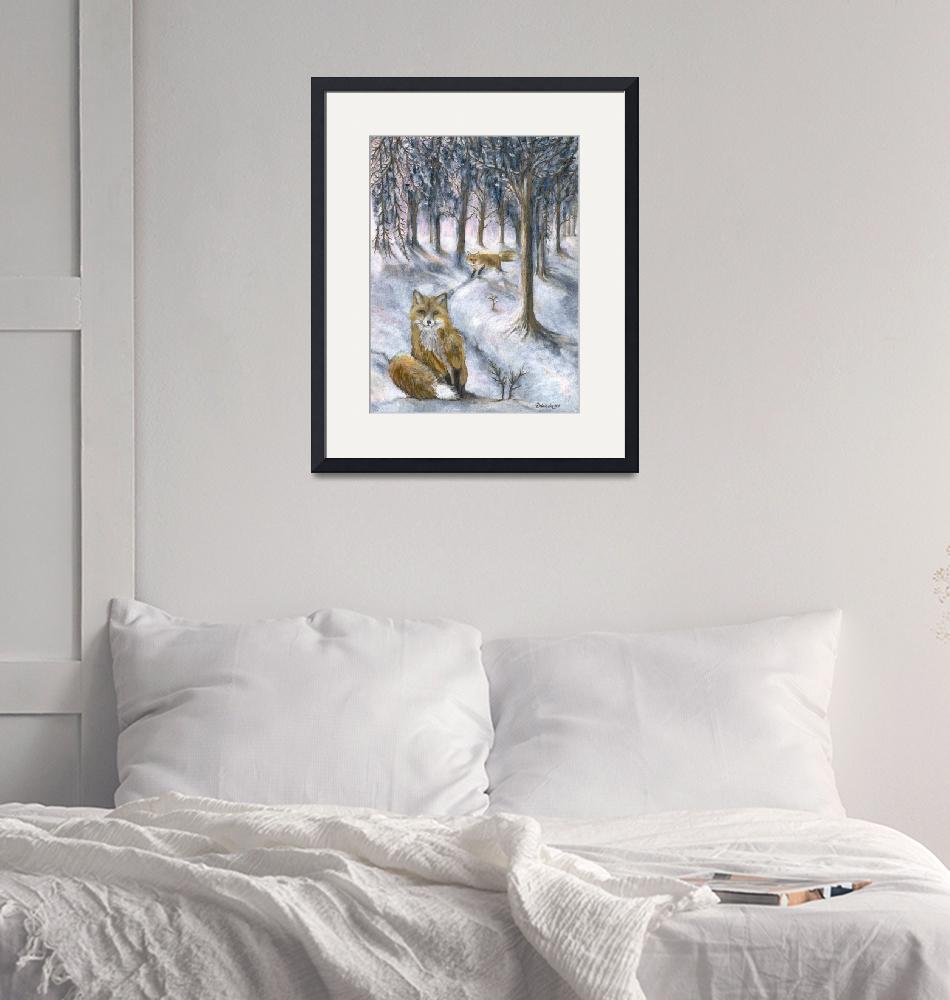 """""""Red foxes in wintery woods""""  (2017) by tarantella"""