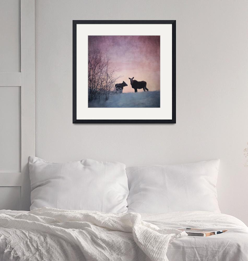 """Two Moose Sunset""  (2018) by Piri"