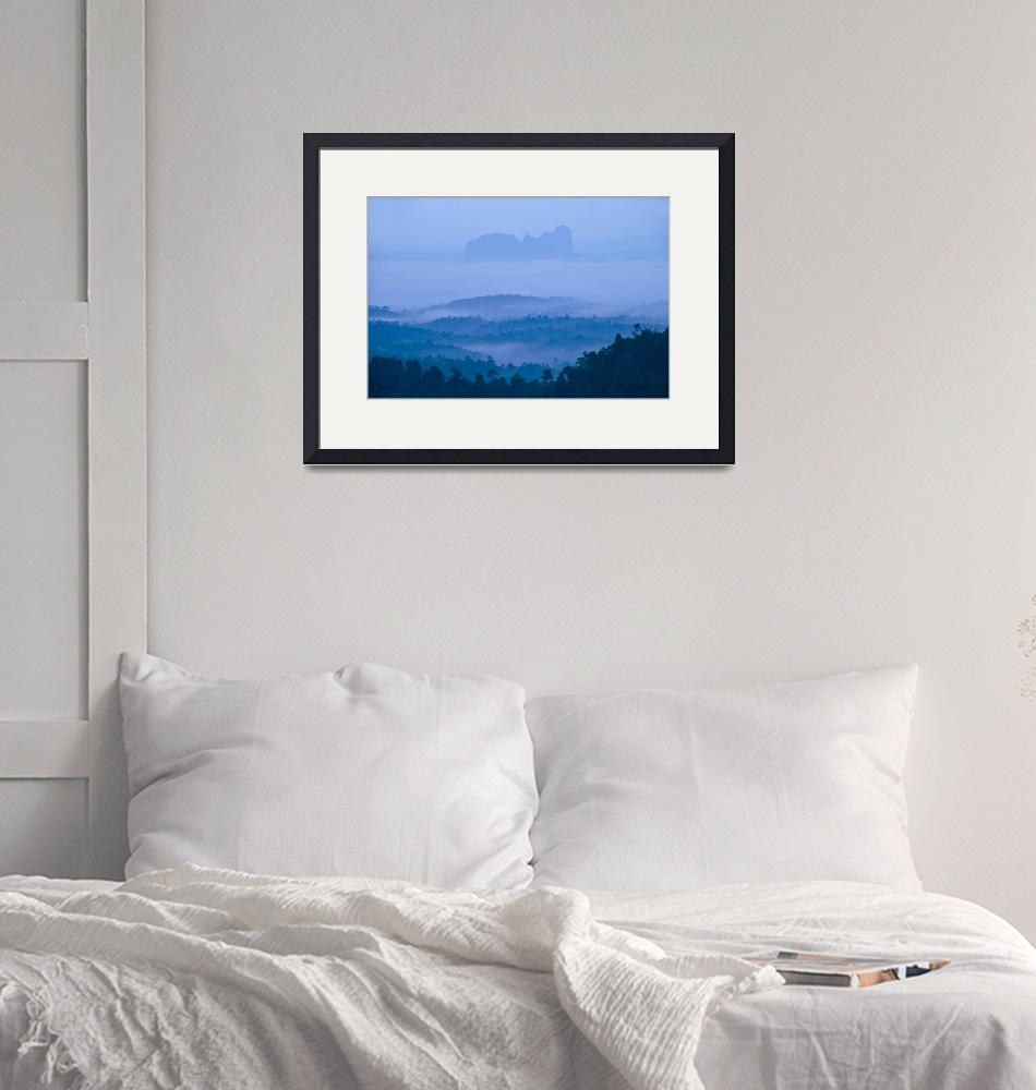 """""""Landscape - Blue hour before dawn""""  (2010) by hockhow"""