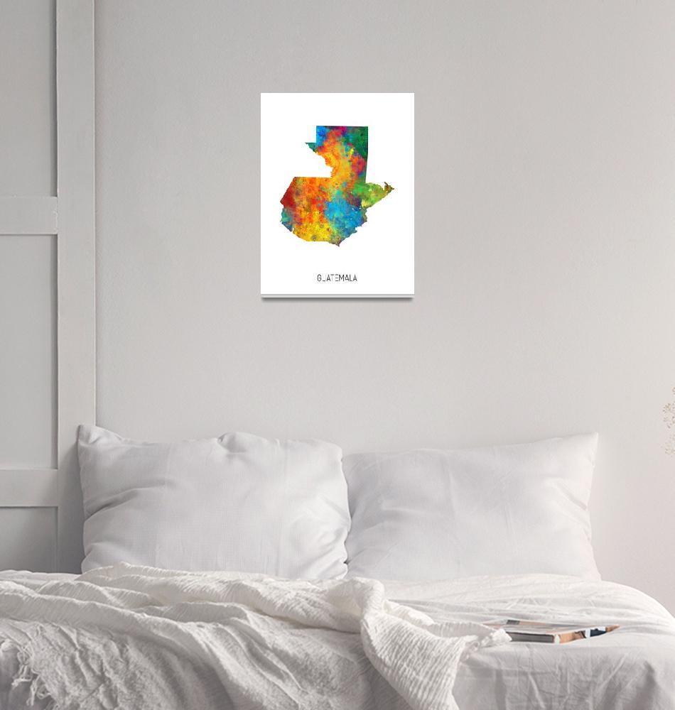 """Guatemala Watercolor Map""  (2019) by ModernArtPrints"