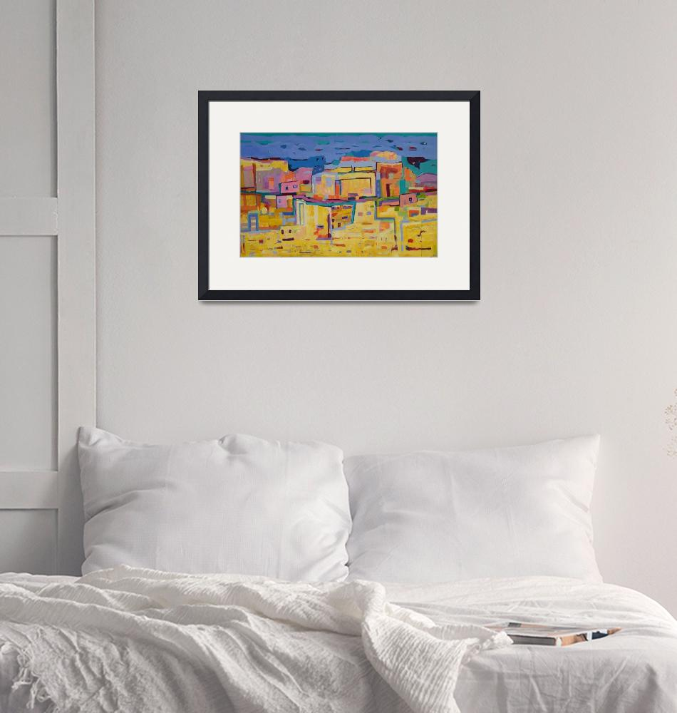 """Abstract Landscape Maroco Cityscape Yellow Blue""  (2019) by Maggy"