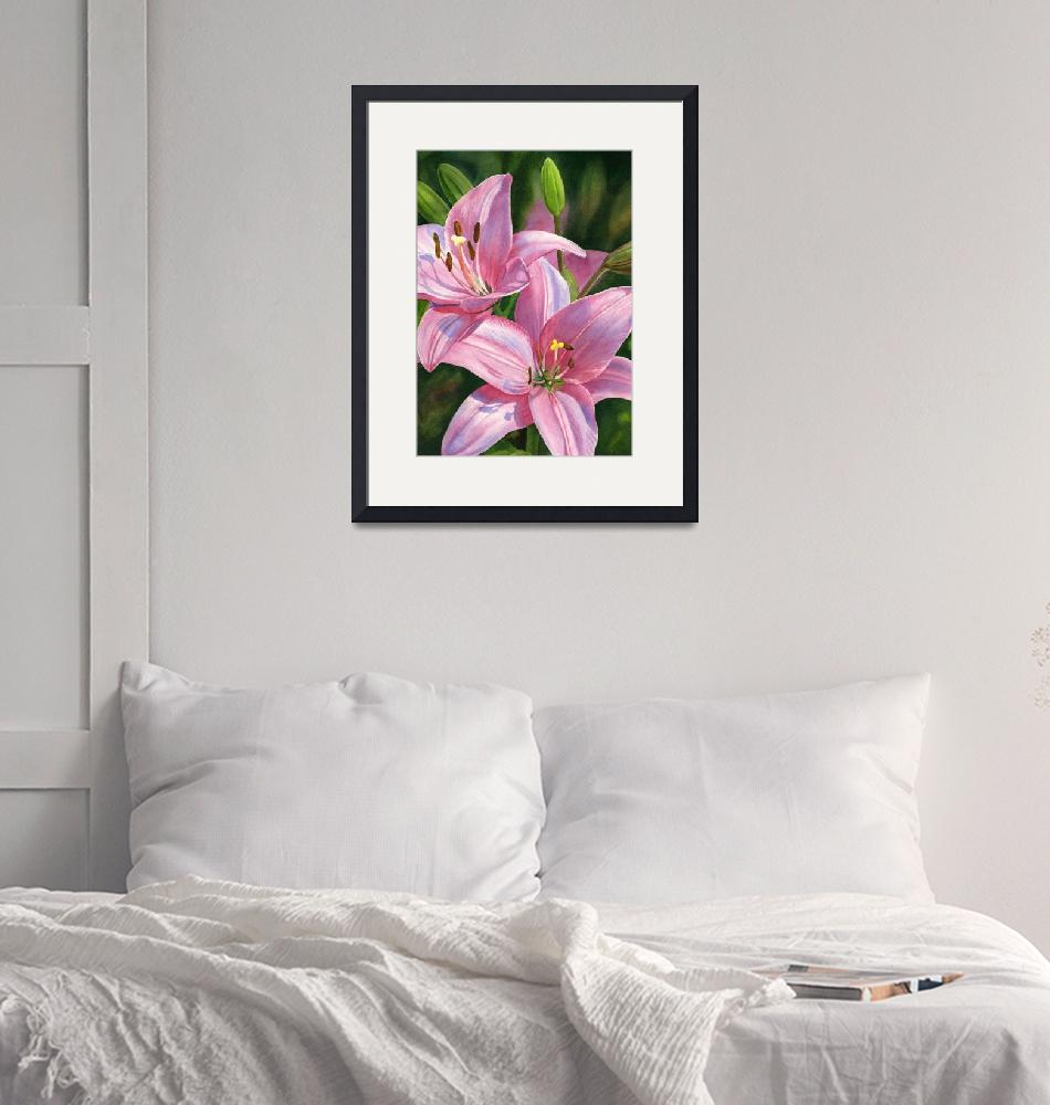 """two brilliant pink lilies with buds""  (2019) by Pacific-NW-Watercolors"