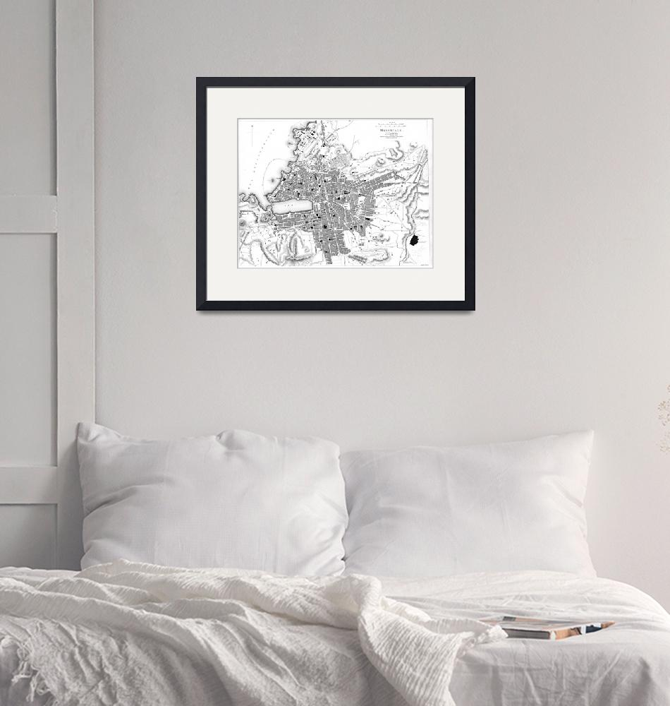 """Vintage Map of Marseille France (1840) BW""  by Alleycatshirts"