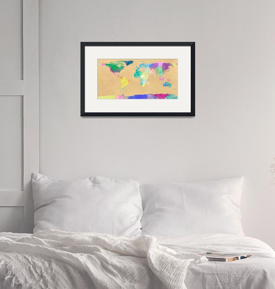 """""""watercolor world map 1""""  (2012) by gsquared"""