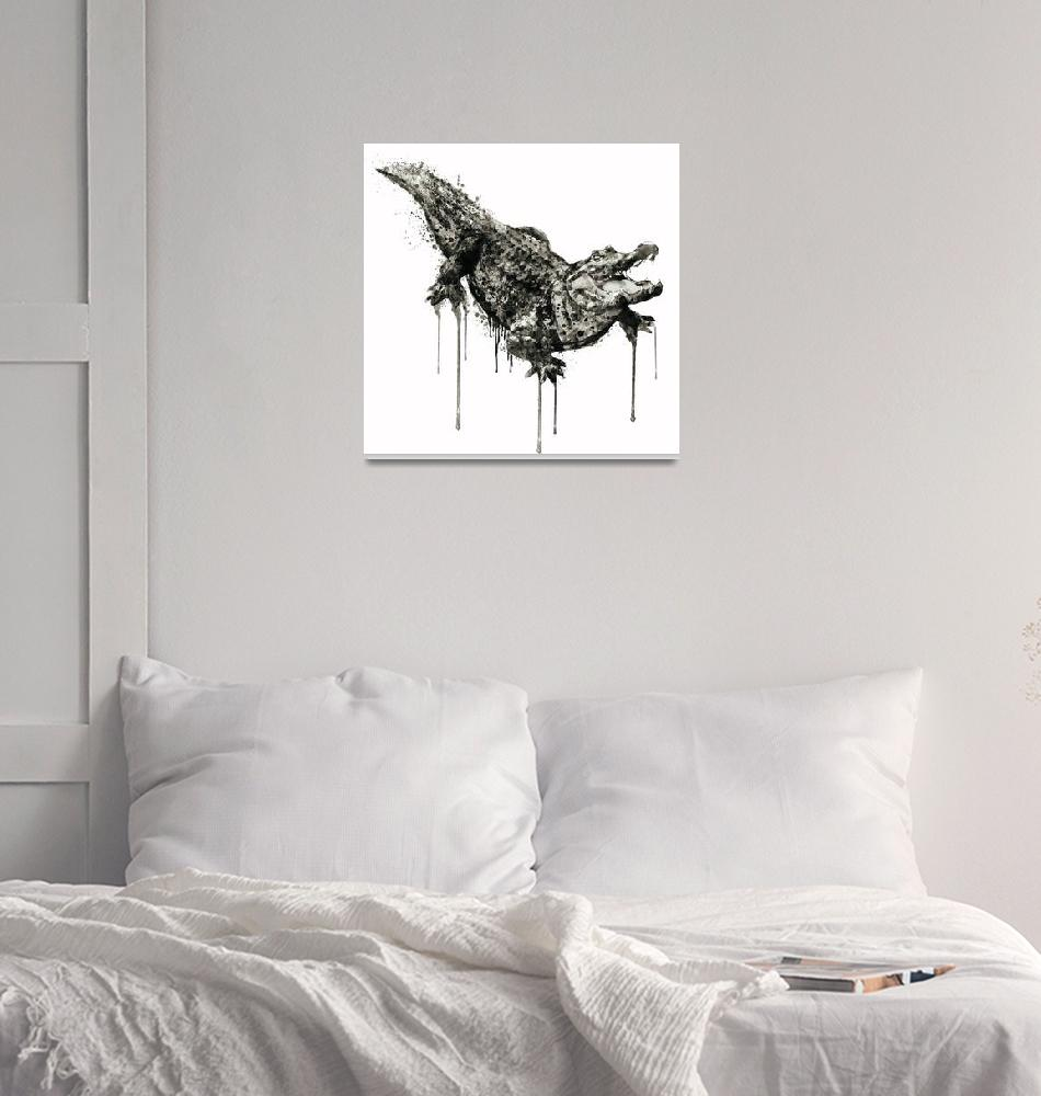 """Alligator Black And White""  (2016) by MarianVoicu"