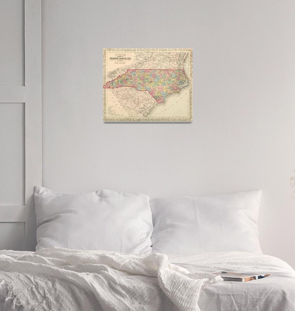 """Vintage Map of North Carolina (1859)""  by Alleycatshirts"