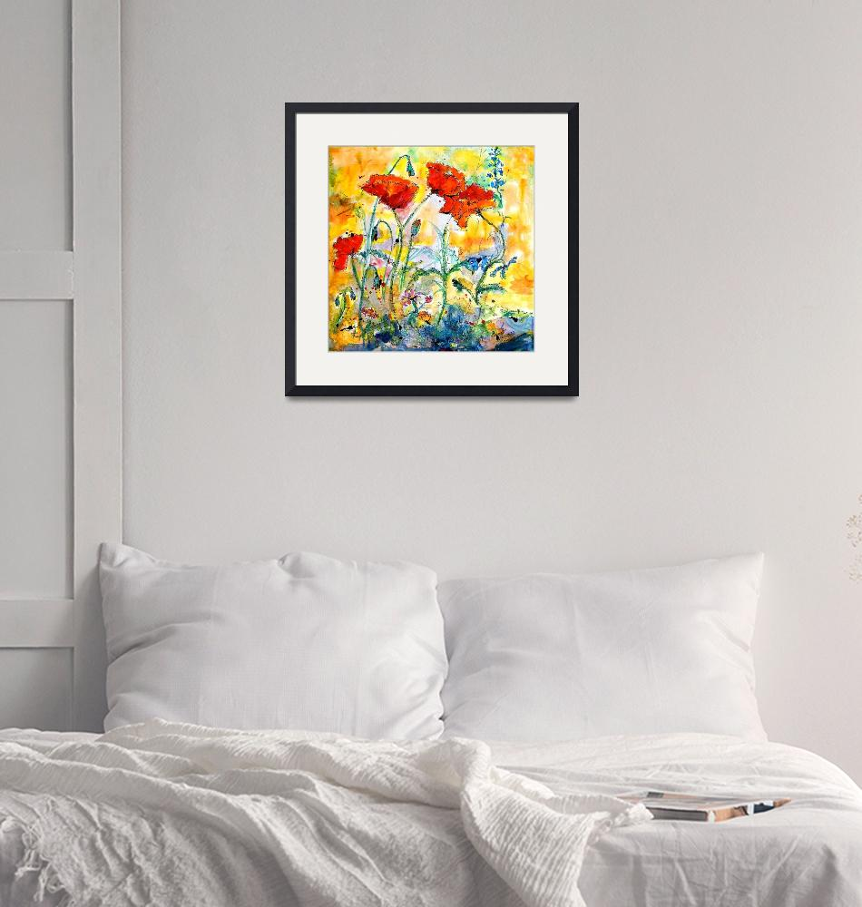 """""""Red Poppies Provencale Watercolor Painting""""  (2005) by GinetteCallaway"""