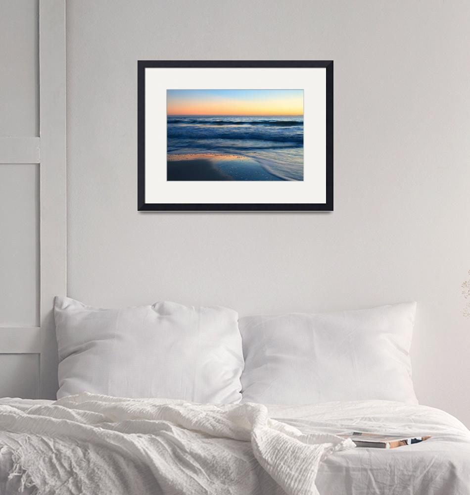 """""""Beach and Waves at Sunset""""  by WorldDesign"""