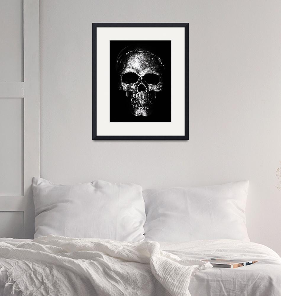 """""""Etched Silver Skull""""  (2017) by modernhouseart"""