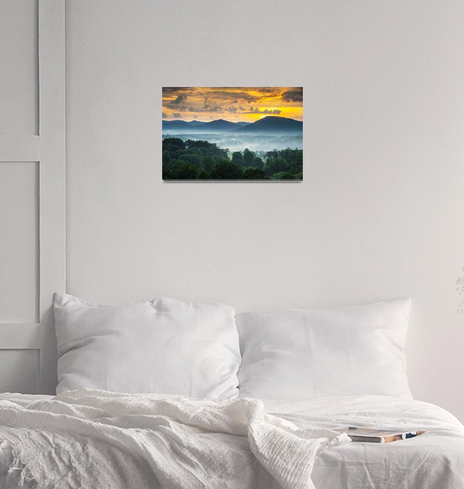 """""""Asheville NC Blue Ridge Mountains Sunset - Welcome""""  (2012) by DAPhoto"""