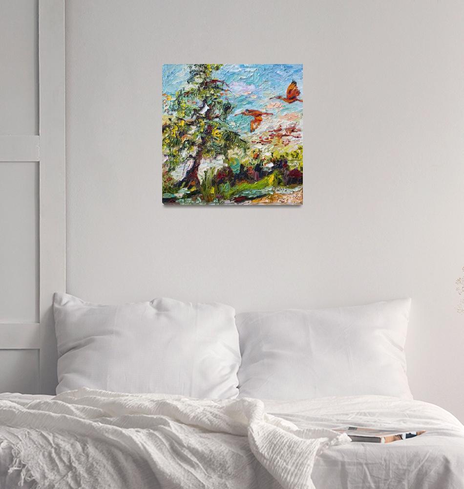 """""""Scarlett Ibis Tropical Summer Wildlife Scene""""  (2013) by GinetteCallaway"""