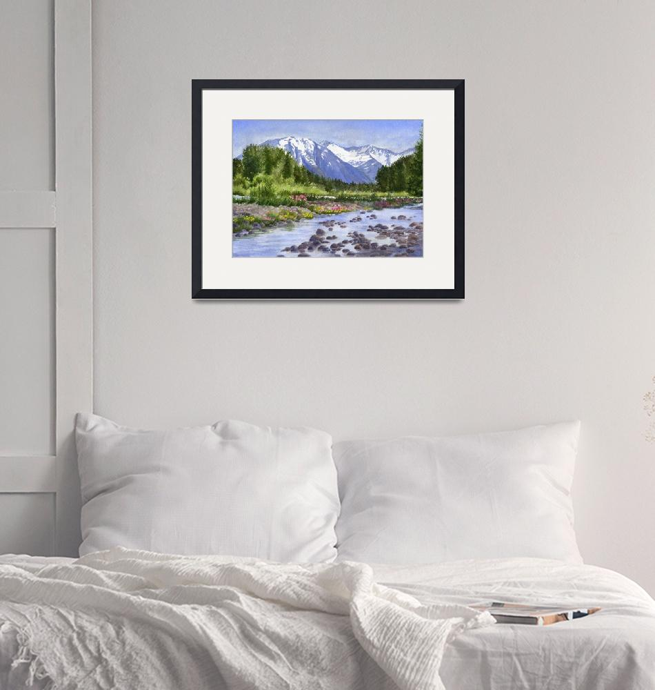"""Inlet View Glacier Creek""  (2017) by Pacific-NW-Watercolors"