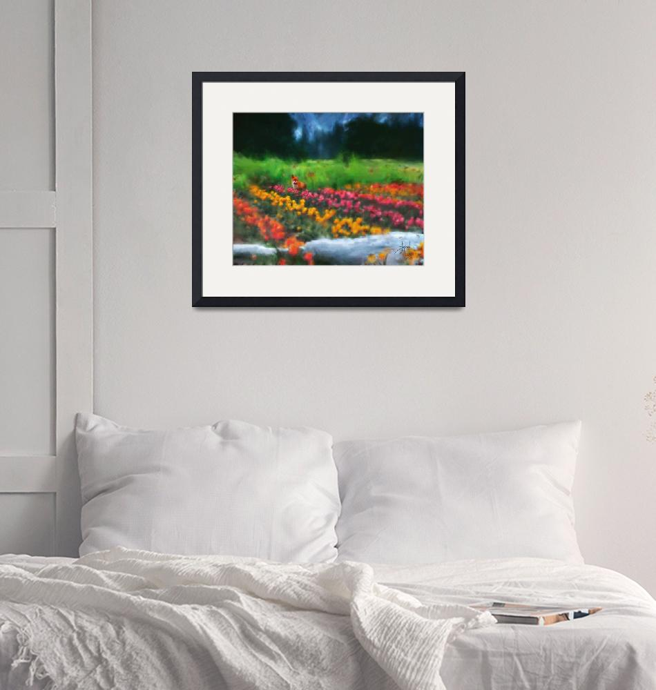 """Fox Watching Tulips""  (2007) by Stephensfineart"