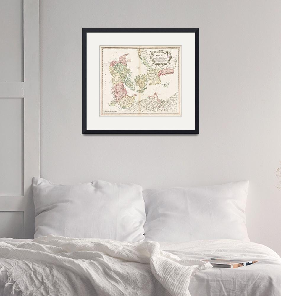 """""""Vintage Map of Denmark (1750)""""  by Alleycatshirts"""