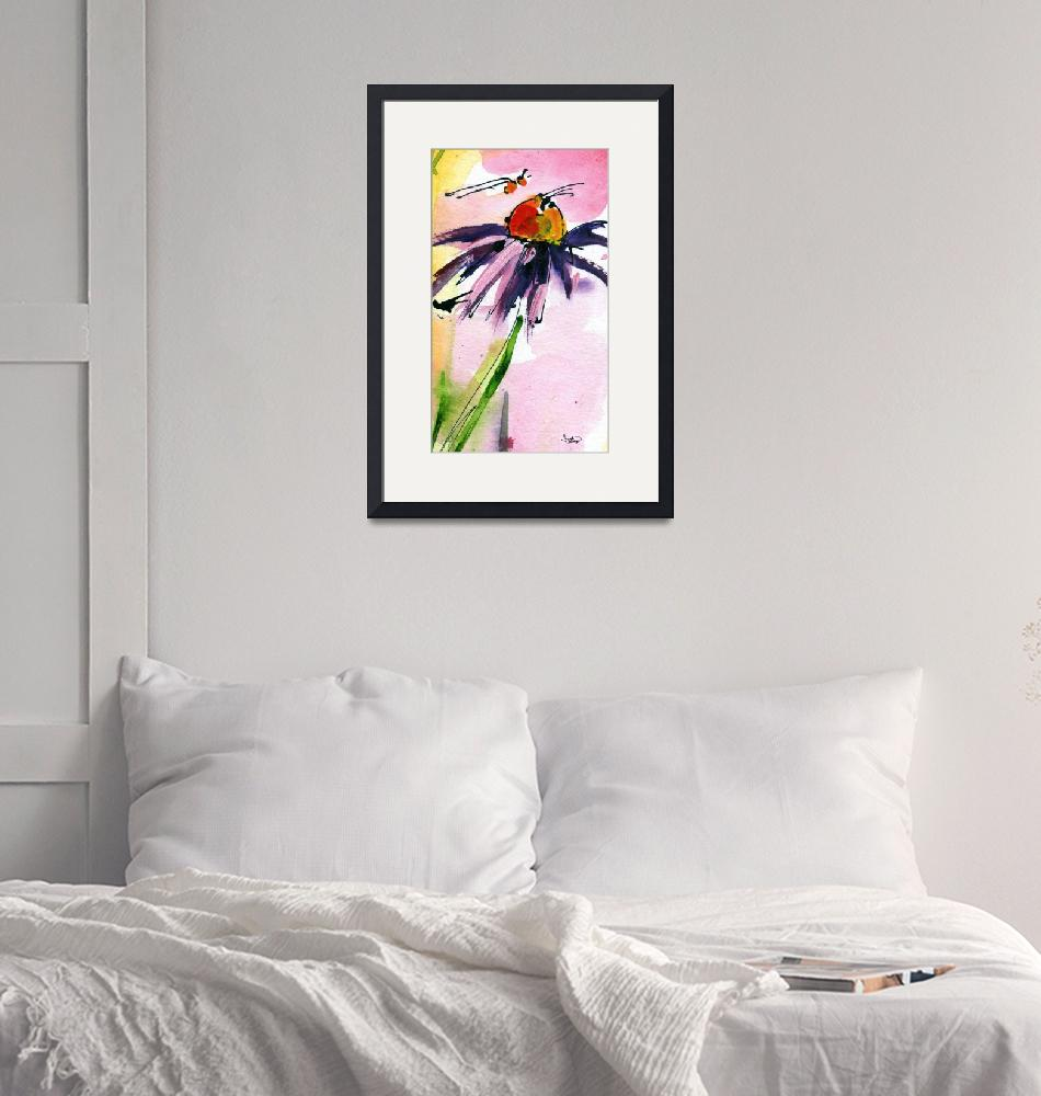 """Macro Coneflower Watercolor by Ginette""  (2011) by GinetteCallaway"