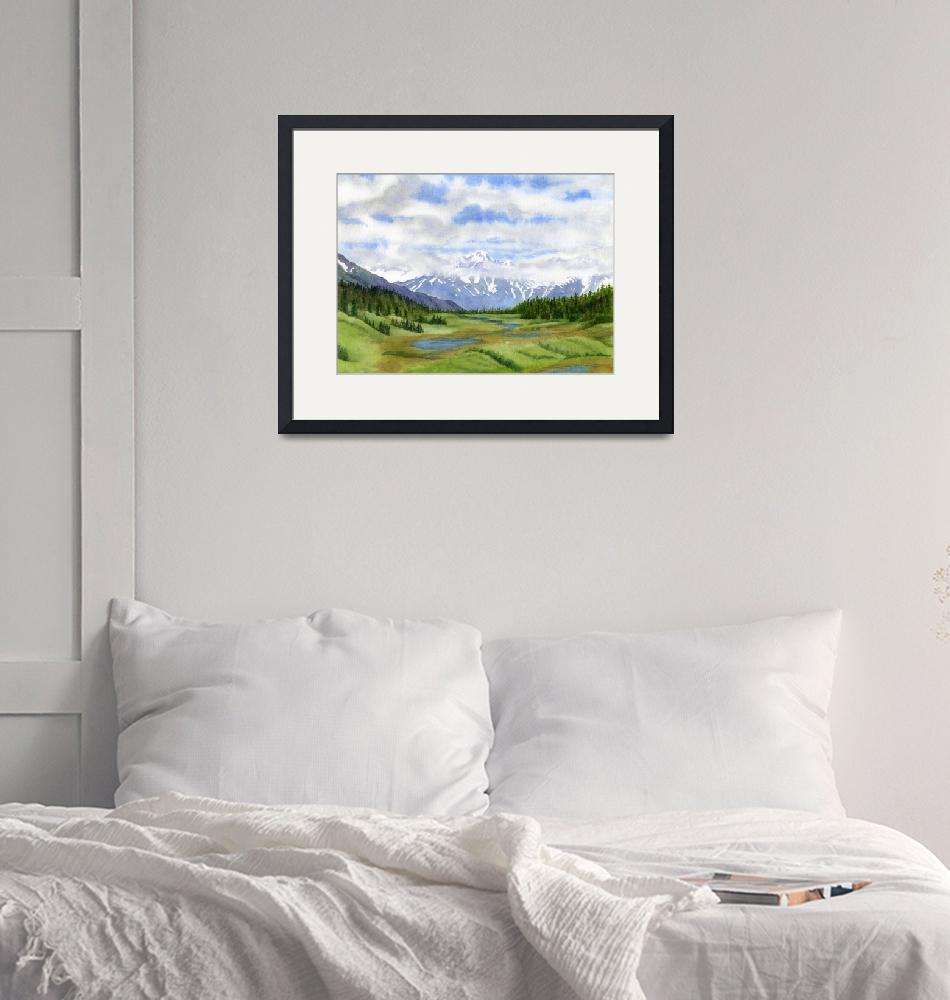 """""""Turnagain Pass Mountain View""""  by Pacific-NW-Watercolors"""