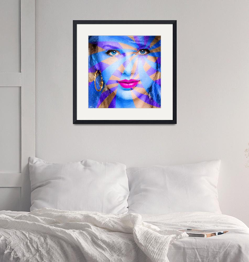"""""""Taylor Swift Blue Square""""  (2015) by RubinoFineArt"""