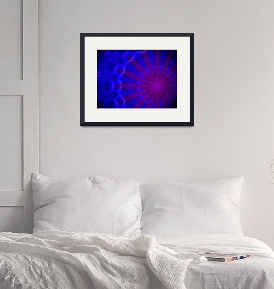 """""""Geometric blue and purple radial pattern""""  (2014) by jntvisual"""