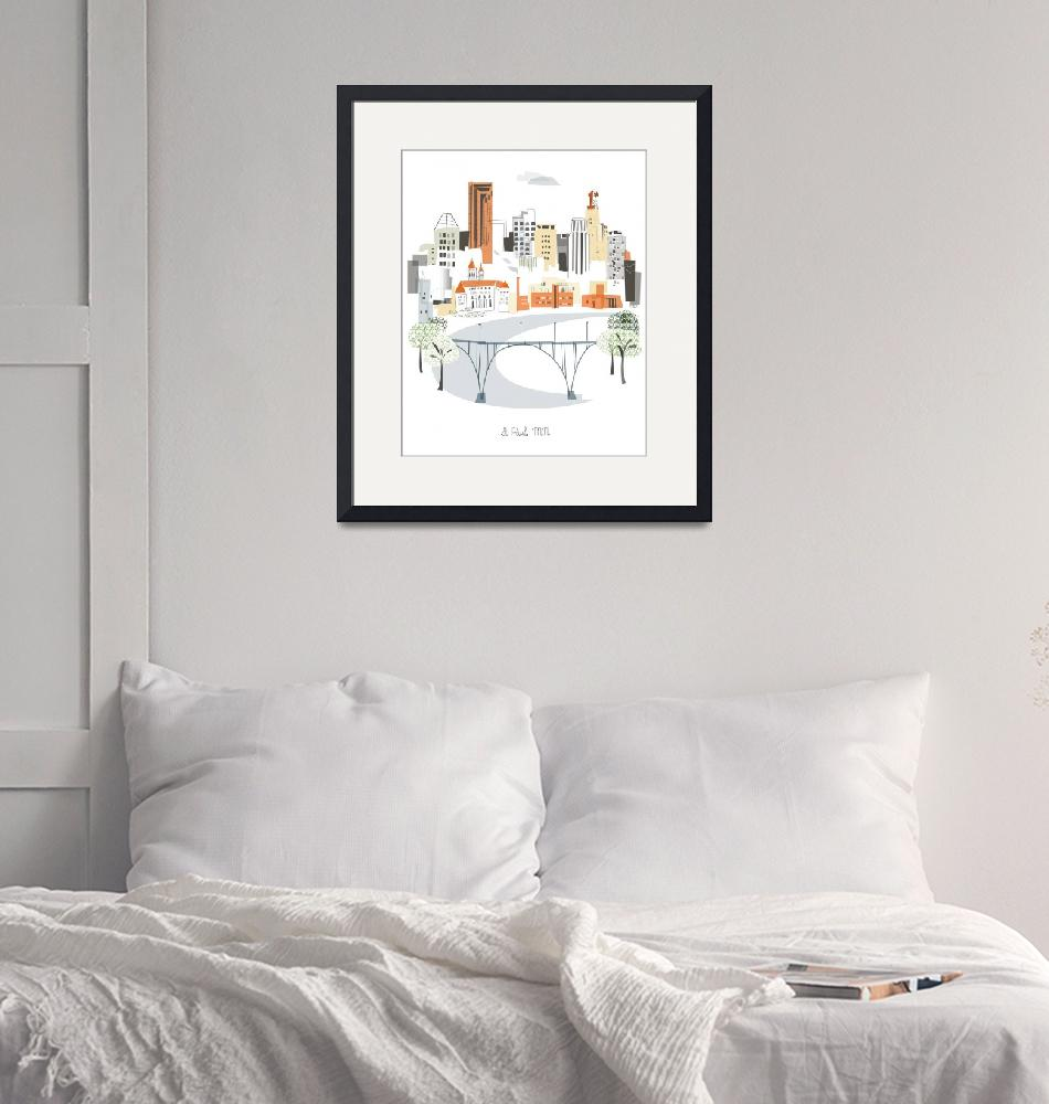 """St Paul Modern Cityscape Illustration""  by AlbieDesigns"