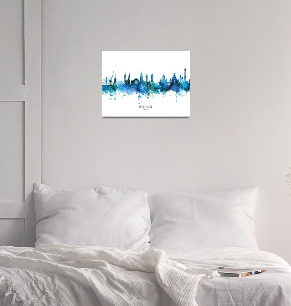 """Helsinki Finland Skyline""  (2020) by ModernArtPrints"